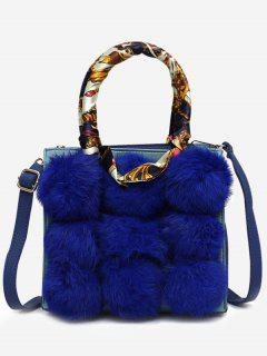 Scarf Pompoms Handbag With Strap - Blue
