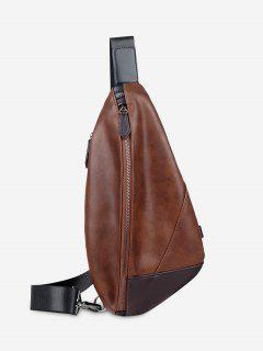 PU Leather Geometric Chest Bag - Brown
