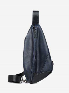 PU Leather Geometric Chest Bag - Blue