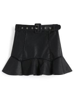 Belted Faux Leather Mini Mermaid Skirt - Black M