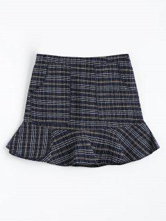 Plaid Tweed Mermaid Skirt With Pockets - M