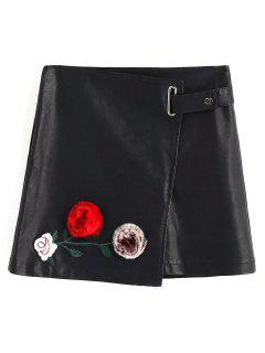Floral Applique Faux Leather Mini Skirt - Black S