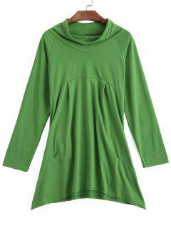 Asymmetrical Mock Neck Sweatshirt - Green S