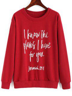 Drop Shoulder Letter Print Pullover Sweatshirt - Red M