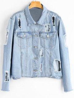 Button Up Destroyed Frayed Denim Jacket - Denim Blue M