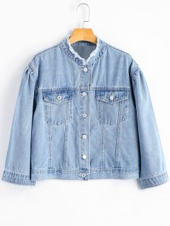 Button Up Frayed Collar Denim Jacket - Denim Blue S