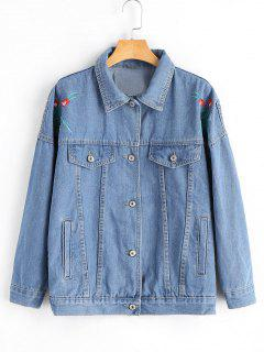 Button Up Embroidered Denim Shirt Jacket - Denim Blue S