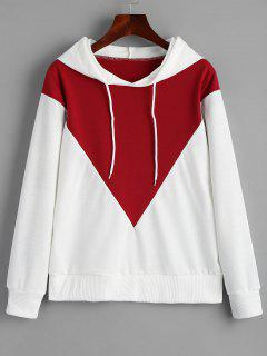 Drawstring Two Tone Tunic Hoodie - Red And White S