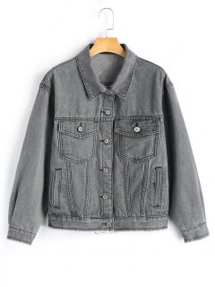 Button Up Denim Shirt Jacket - Smoky Gray S