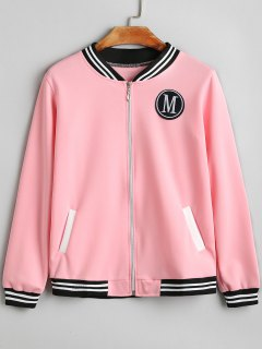 Letter Badge Patched Zip Up Jacket - Pink Xl