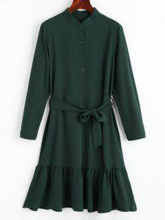 Vestido Fluido Ceñido Cintura - Verde Negruzco L