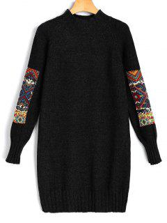 Vestido Mini De Manga Larga Jacquard Sweater - Negro