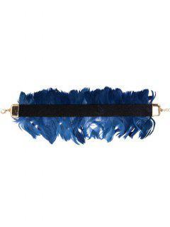 Feather Vintage Velvet Choker Necklace - Blue