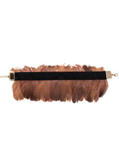 Feather Vintage Velvet Choker Necklace - Coffee