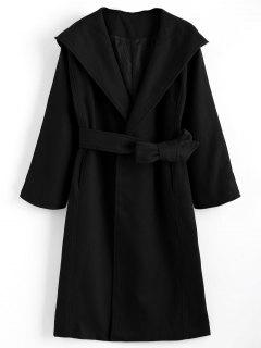 Belted Hooded Coat With Pockets - Black S