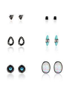 Faux Gem Turquoise Bohemian Stud Earring Set - Pattern A