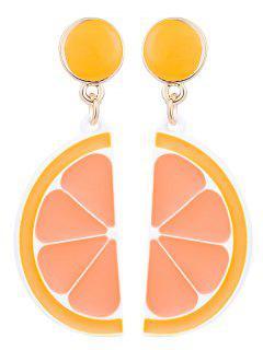 Cute Fruit Lemon Round Earrings - Orange