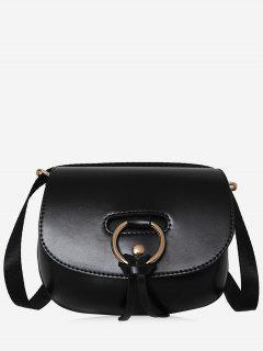 Ring Faux Leather Rivet Crossbody Bag - Black