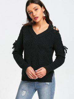 Side Slit Lace Up Pullover Sweater - Black