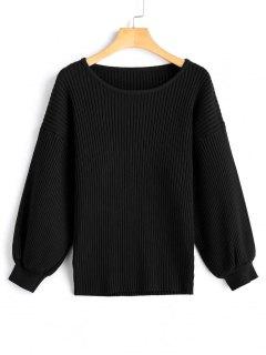 Drop Shoulder Ribbed Pullover Sweater - Black