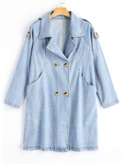 Denim Double-breasted Trench Coat - Denim Blue S