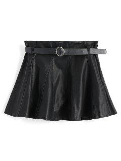 Belted Faux Leather Mini Skirt - Black M
