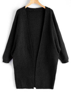 Dolman Sleeve Longline Open Cardigan - Black