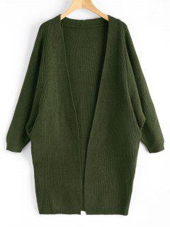 Dolman Sleeve Longline Open Cardigan - Army Green