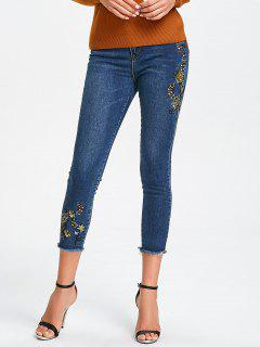 Floral Embroidered Frayed Hem Jeans - Denim Blue M