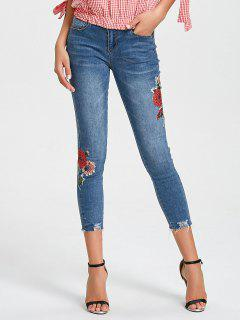Ninth Destroyed Floral Jeans - Denim Blue Xl