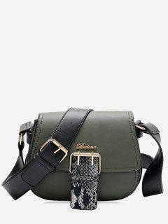 Buckle Strap Snake Print Letter Crossbody Bag - Green