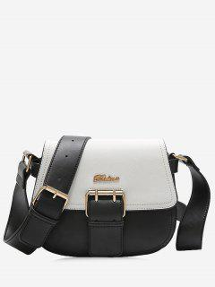 Buckle Strap Snake Print Letter Crossbody Bag - Black White