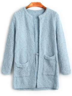 Plain Open Cardigan With Pockets - Light Blue