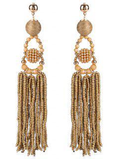 Ethnic Ball Beaded Tassel Earrings - Coffee