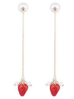 Faux Pearl Strawberry Fruit Chain Earrings - Red