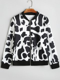 Cow Pattern Zip Up Jacket - White And Black S