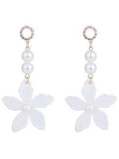 Boucles D'oreilles Fleur Strass En Fausse Perle - Blanc