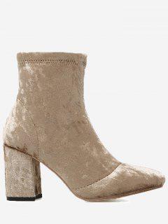Almond Toe Chunky Heel Velvet Boots - Apricot 36