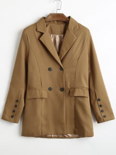 Double Breasted Lapel Blazer With Pockets - Brown S