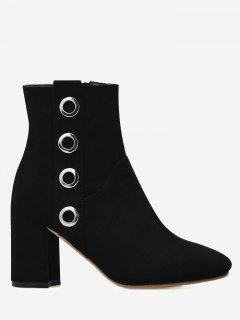 Eyelets Detail Chunky Heel Ankle Boots - Black 39