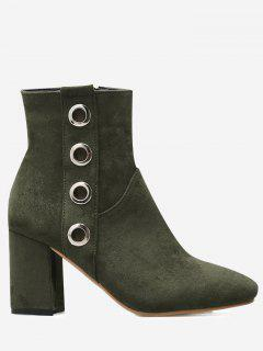 Eyelets Detail Chunky Heel Ankle Boots - Green 38
