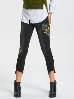 Jeans Florales Bordados Con Bajo Dobladillo Alto - Negro Xl