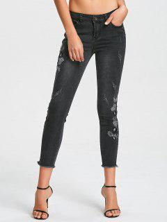 Destroyed Frayed Hem Embroidered Pencil Jeans - Black M