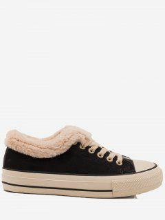 Low Heel Faux Fur Skate Shoes - Black 40