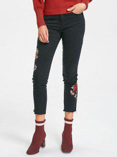 Frayed Hem Floral Embroidered Narrow Feet Jeans - Black M