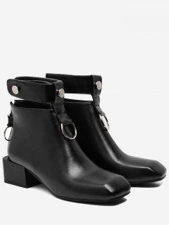 Rivets Square Toe Ankle Strap Boots - Black 38