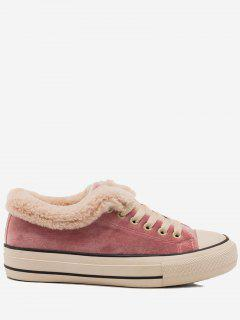 Low Heel Faux Fur Skate Shoes - Pink 36
