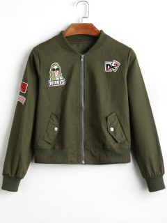 Badge Patched Zip Up Bomber Jacket - Army Green S