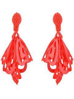 Perlen-Legierung Ohrringe - Rot