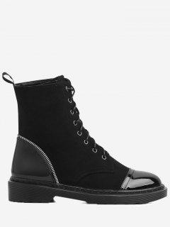 Zipper Gear Detail PU Round Toe Ankle Boots - Black 40